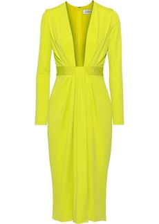 Cushnie Woman Draped Neon Stretch-jersey Dress Lime Green