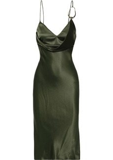 Cushnie Woman Draped Ring-embellished Silk-satin Slip Dress Army Green
