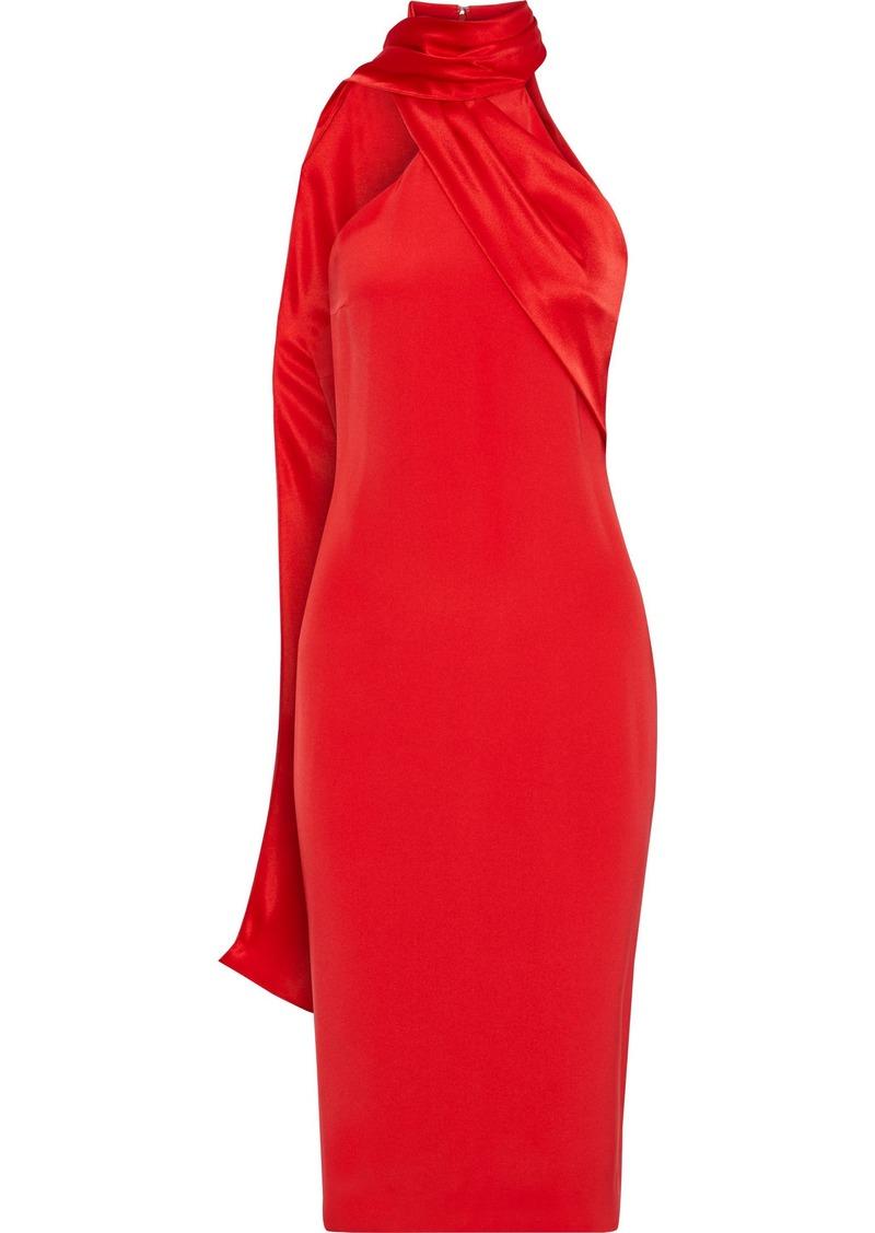 Cushnie Woman Draped Satin-paneled Silk Crepe De Chine Dress Red