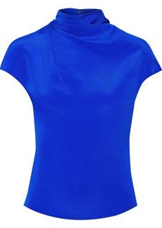 Cushnie Woman Draped Silk-satin Crepe Blouse Blue