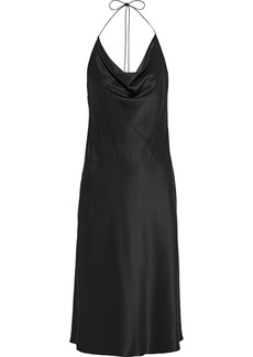 Cushnie Woman Draped Silk-satin Halterneck Slip Dress Black