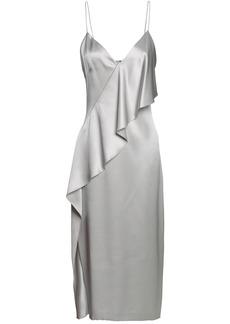 Cushnie Woman Draped Silk-satin Midi Slip Dress Light Gray