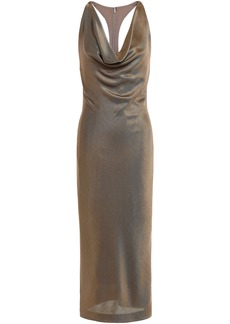 Cushnie Woman Draped Stretch-knit Halterneck Dress Brass
