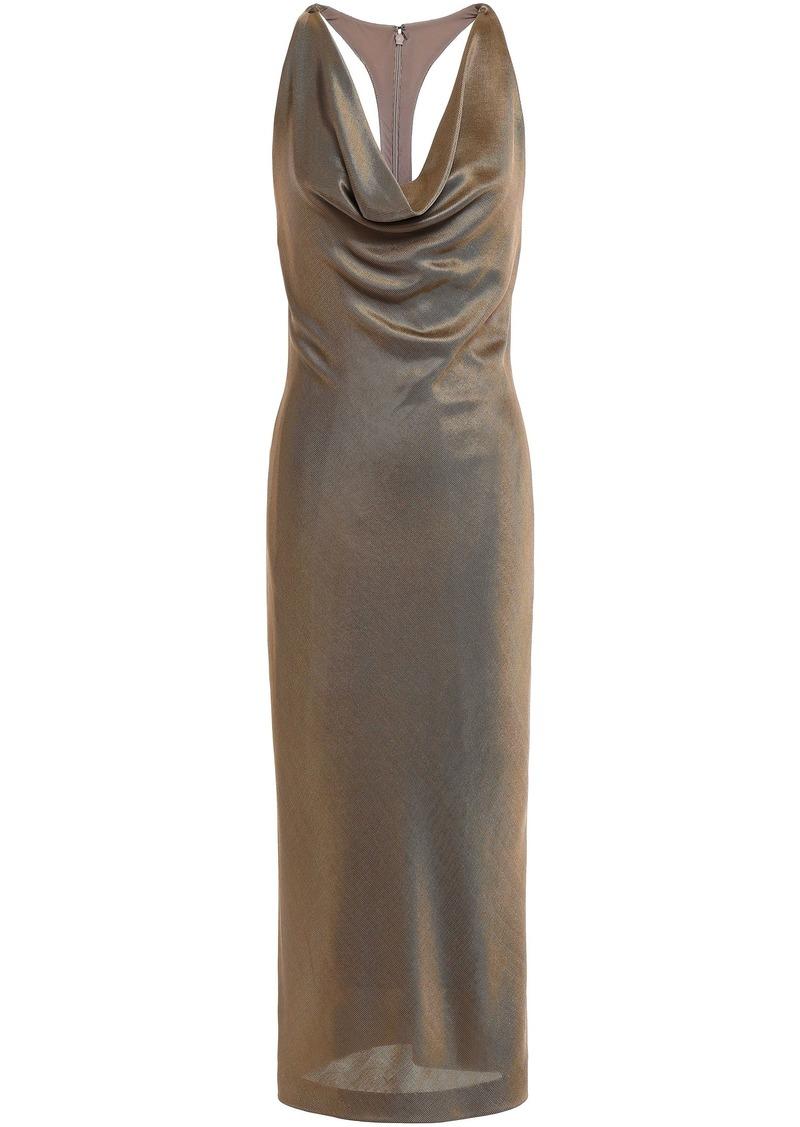 Cushnie Woman Draped Stretch-knit Halterneck Dress Brass