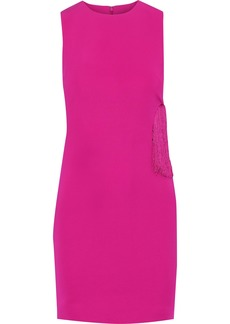 Cushnie Woman Fringe-trimmed Cutout Cady Mini Dress Fuchsia