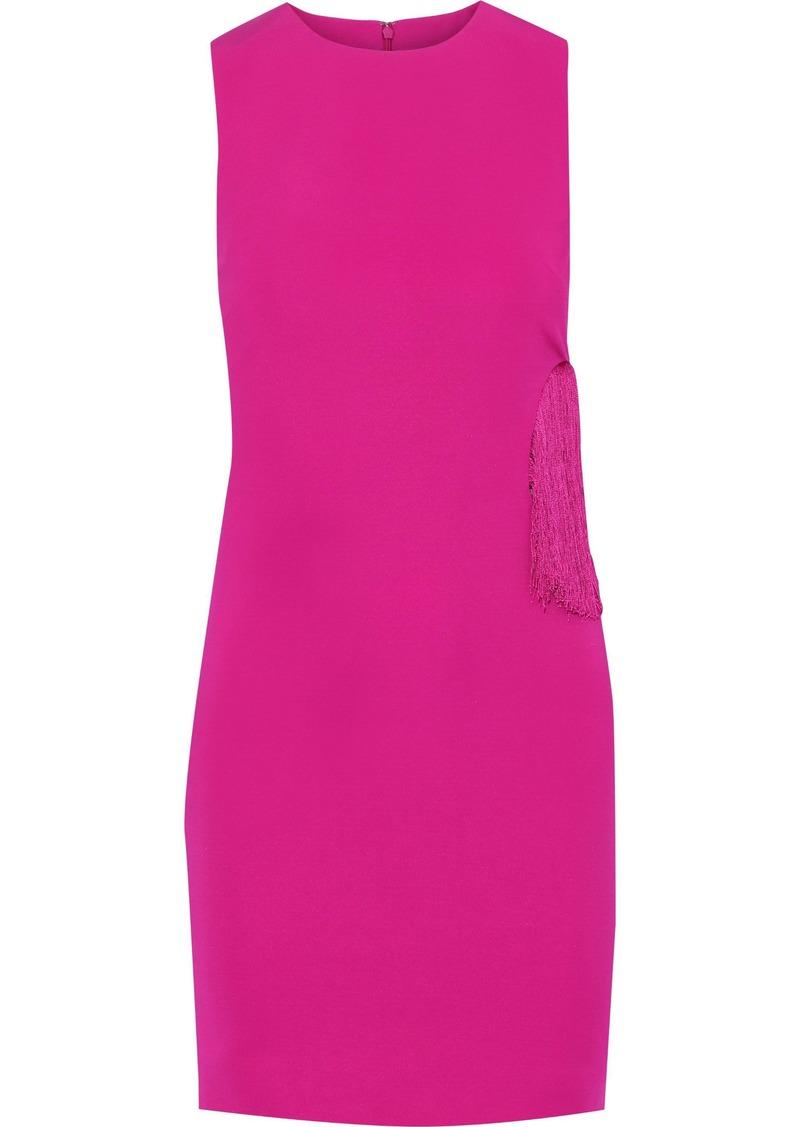 Cushnie Woman Fringe-trimmed Cutout Cady Mini Dress Fuchsia