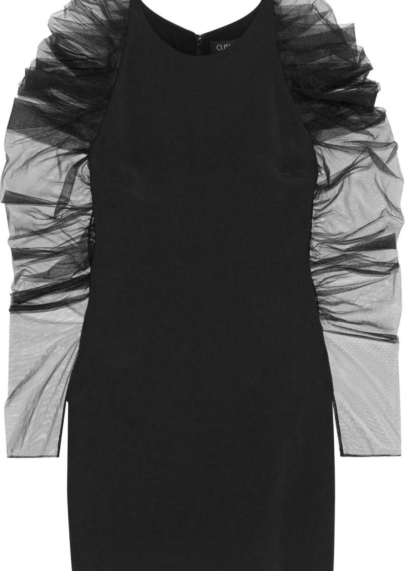 Cushnie Woman Gathered Tulle-paneled Cady Mini Dress Black