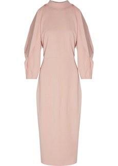 Cushnie Woman Gina Draped Cutout Stretch-crepe Midi Dress Pastel Pink