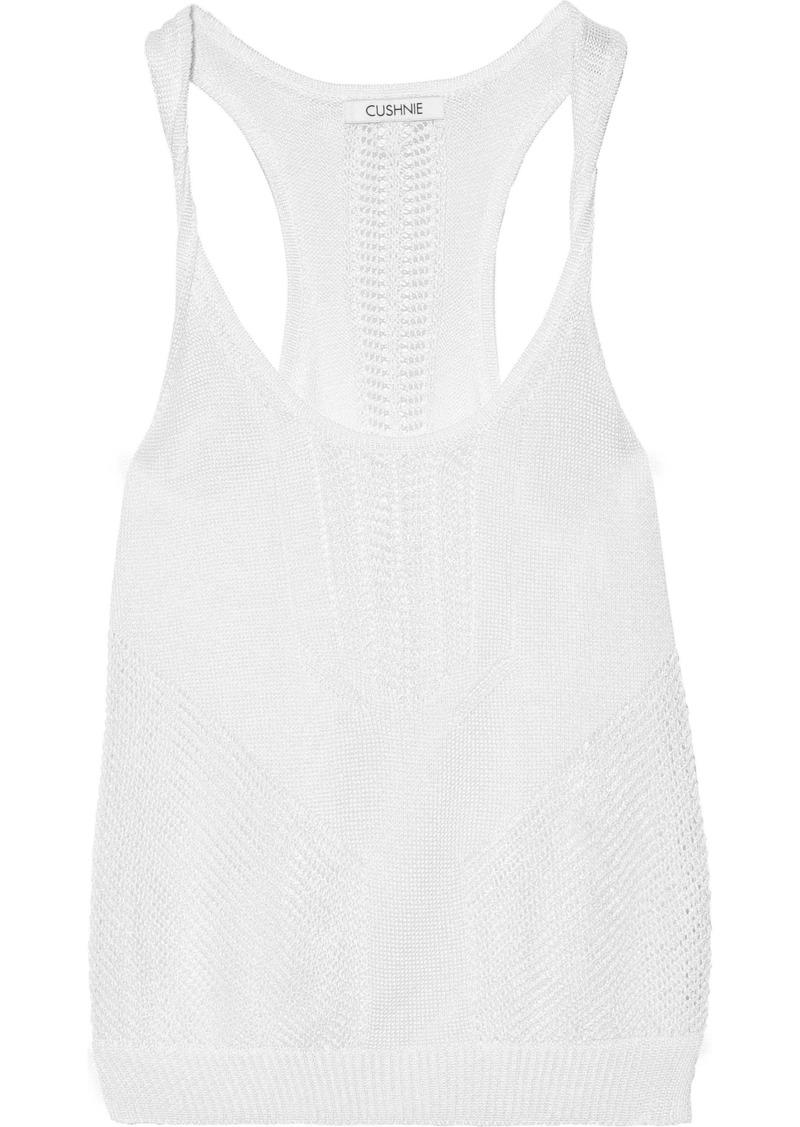 Cushnie Woman Huda Twisted Pointelle-knit Tank White