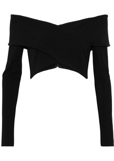 Cushnie Woman Issa Off-the-shoulder Cropped Stretch-crepe Top Black