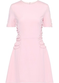 Cushnie Woman Flared Lace-up Cady Mini Dress Baby Pink