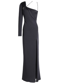 Cushnie Woman Leonora One-shoulder Ruched Satin-jersey Gown Anthracite