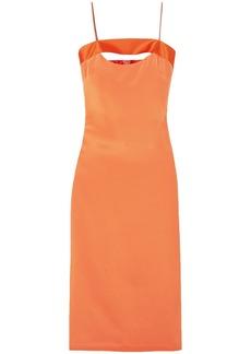 Cushnie Woman Mariela Cutout Satin-trimmed Silk-blend Dress Orange
