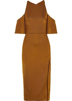 Cushnie Woman Mona Cold-shoulder Stretch-knit Midi Dress Tan