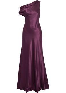 Cushnie Woman Off-the-shoulder Draped Silk-satin Gown Plum