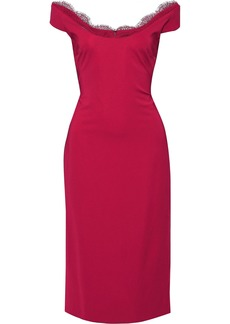 Cushnie Woman Off-the-shoulder Lace-trimmed Stretch-cady Dress Fuchsia