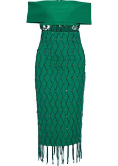 Cushnie Woman Off-the-shoulder Layered Embellished Cady Midi Dress Green