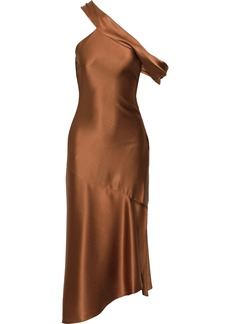 Cushnie Woman One-shoulder Asymmetric Silk-satin Midi Dress Copper