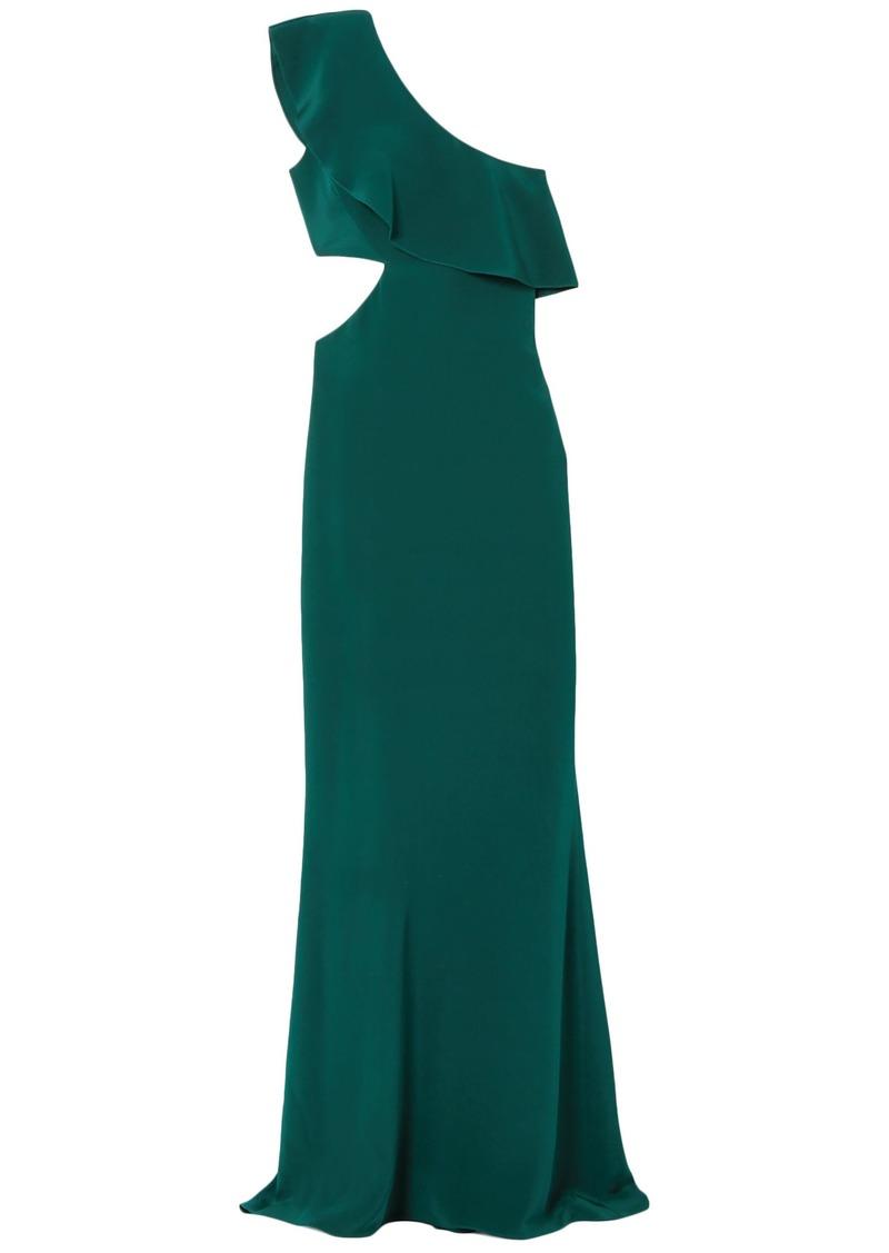Cushnie Woman One-shoulder Cutout Ruffled Silk-crepe Gown Emerald