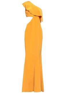 Cushnie Woman One-shoulder Cutout Silk-crepe Gown Saffron