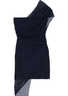 Cushnie Woman One-shoulder Draped Chiffon And Silk Crepe De Chine Mini Dress Navy