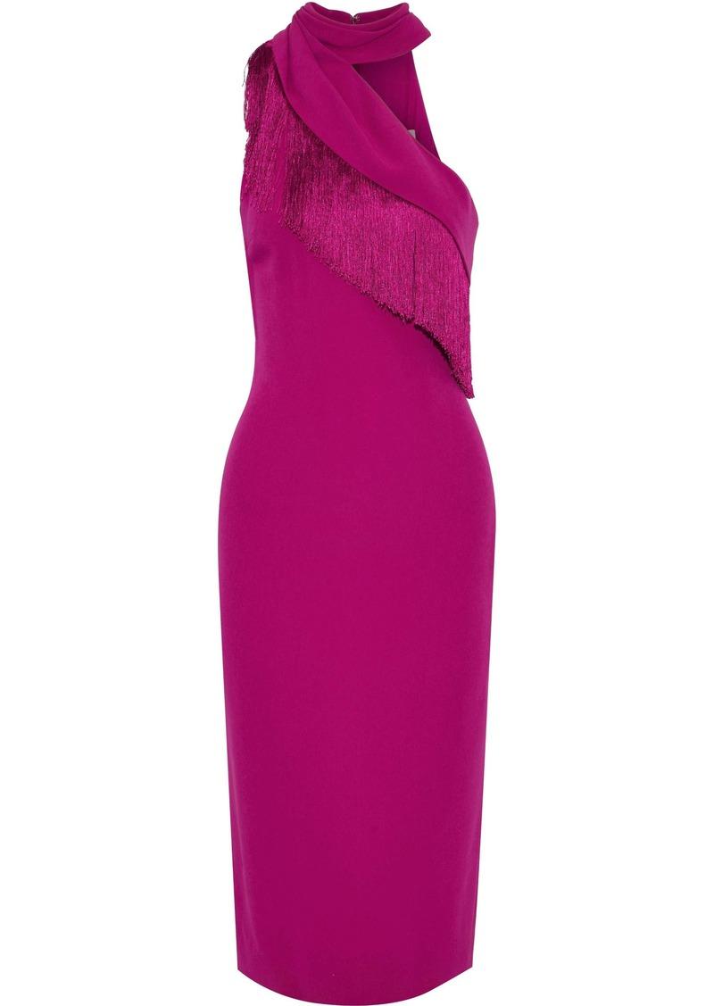 Cushnie Woman One-shoulder Fringe-trimmed Stretch-cady Midi Dress Fuchsia