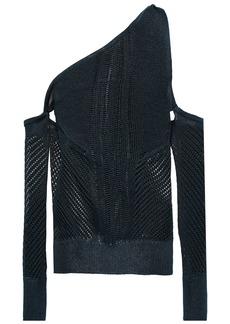 Cushnie Woman One-shoulder Open-knit Top Storm Blue