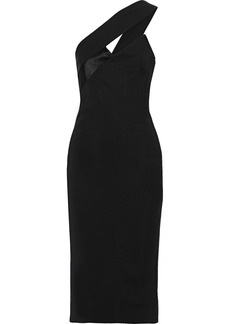 Cushnie Woman One-shoulder Satin-paneled Cady Dress Black