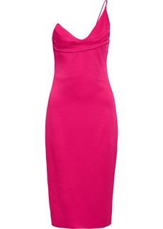 Cushnie Woman One-shoulder Textured Satin-crepe Dress Fuchsia