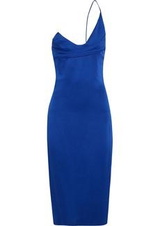 Cushnie Woman One-shoulder Textured Satin-crepe Dress Cobalt Blue