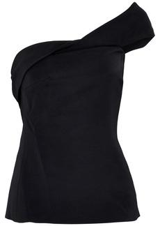 Cushnie Woman One-shoulder Twisted Stretch-cady Top Black