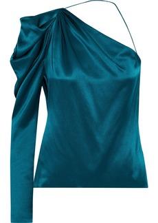 Cushnie Woman One-sleeve Draped Silk-charmeuse Top Teal