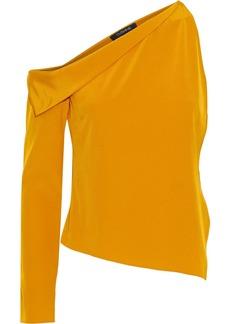 Cushnie Woman One-sleeve Draped Silk Crepe De Chine Top Mustard