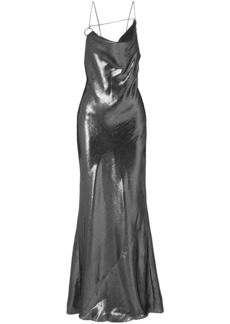 Cushnie Woman Open-back Draped Silk-lamé Gown Gunmetal