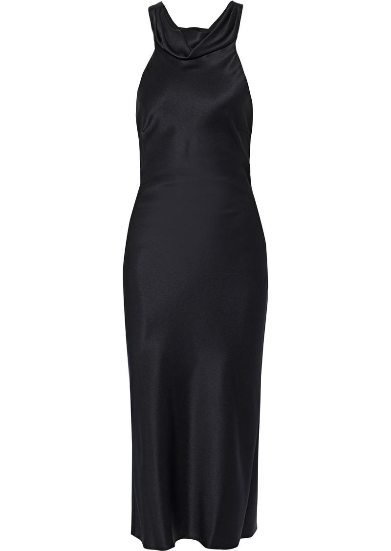 Cushnie Woman Open-back Draped Silk-satin Dress Black