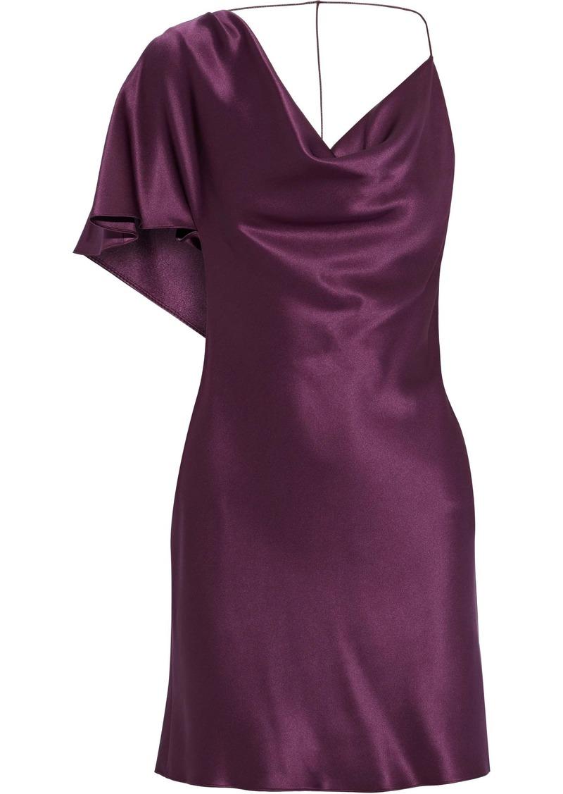 Cushnie Woman Open-back Draped Silk-satin Mini Dress Plum