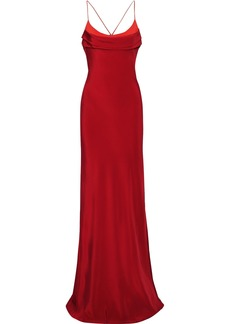 Cushnie Woman Open-back Ring-embellished Two-tone Silk Crepe De Chine Gown Fuchsia