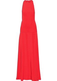 Cushnie Woman Open-back Silk And Stretch-cady Gown Tomato Red