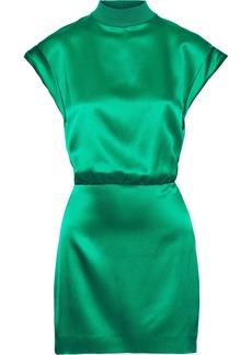 Cushnie Woman Open-back Silk-satin Mini Dress Jade