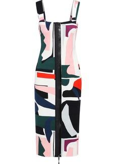 Cushnie Woman Orlena Printed Stretch-crepe Midi Dress Multicolor