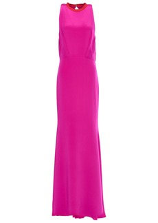 Cushnie Woman Pleated Silk Crepe De Chine Gown Bright Pink