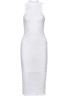 Cushnie Woman Pompom-embellished Pointelle-knit Dress White