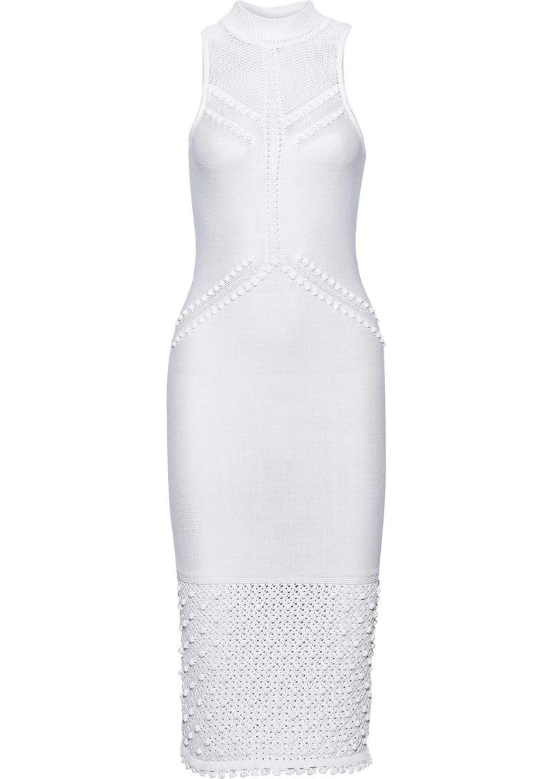 Cushnie Woman Pompom-embellished Pointelle-knit Dress White