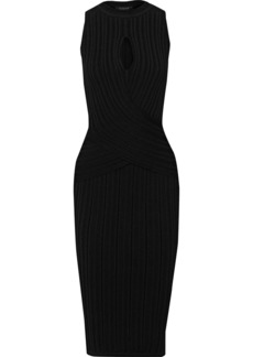Cushnie Woman Cutout Ribbed-knit Dress Black