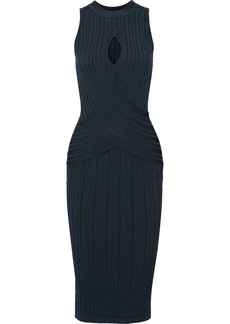 Cushnie Woman Cutout Ribbed-knit Dress Petrol