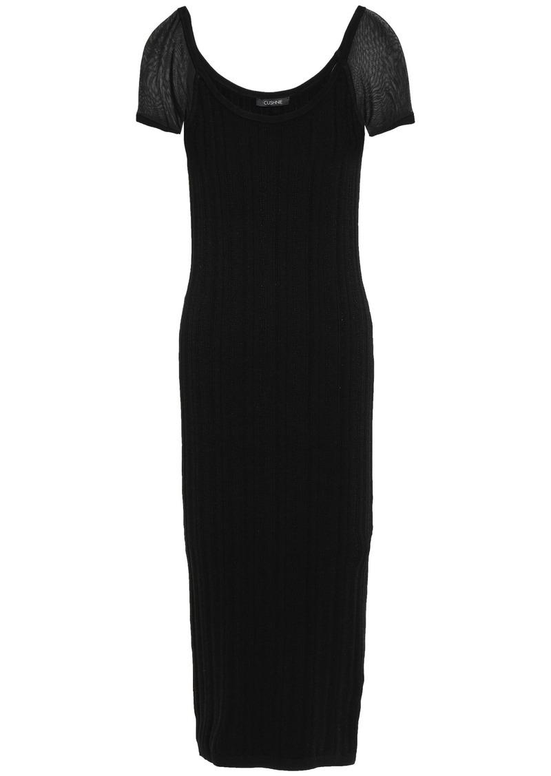 Cushnie Woman Ribbed-knit Midi Dress Black