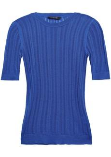 Cushnie Woman Pointelle-knit Top Cobalt Blue