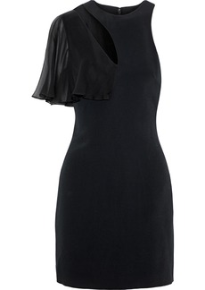 Cushnie Woman Ruffled Chiffon-paneled Cutout Stretch-cady Mini Dress Black