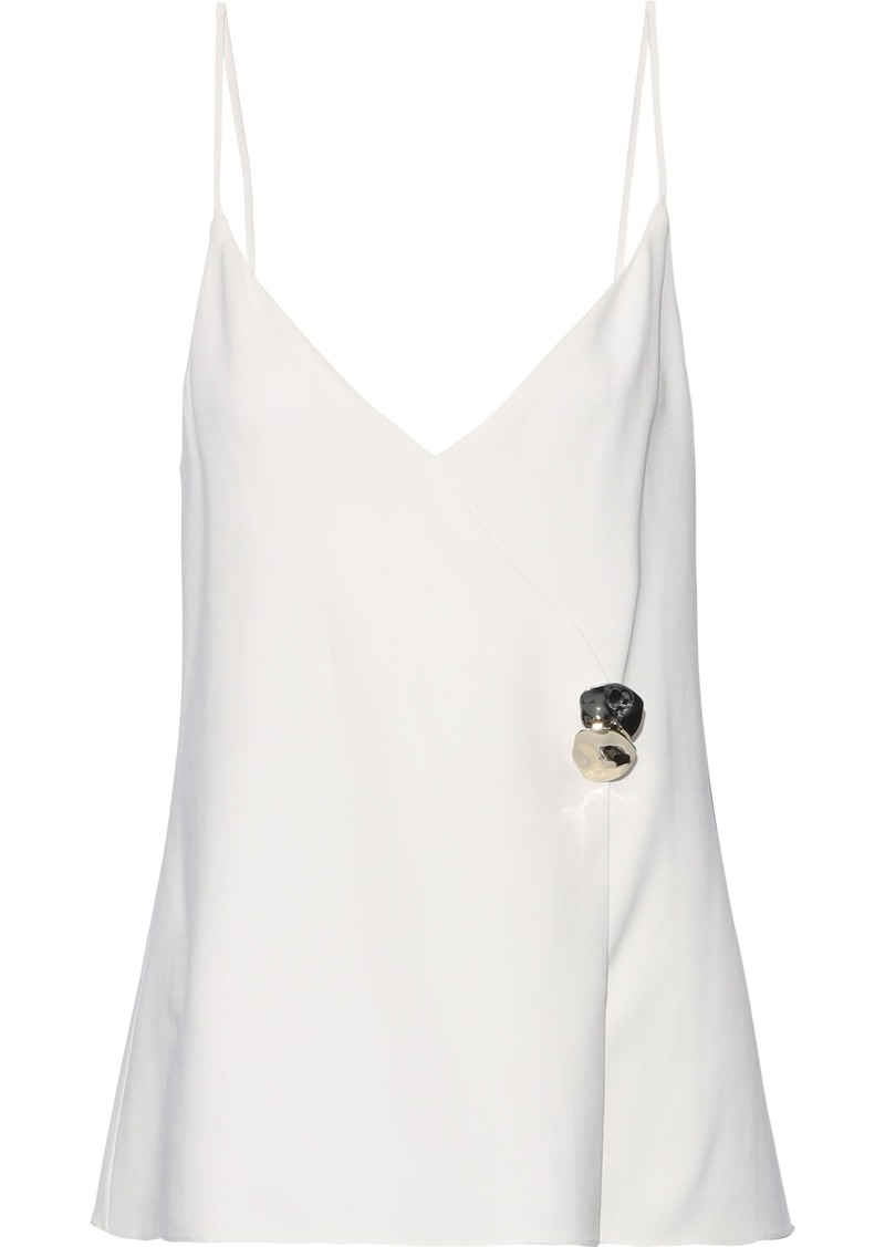 Cushnie Woman Sandrina Button-embellished Stretch-crepe Camisole Ivory