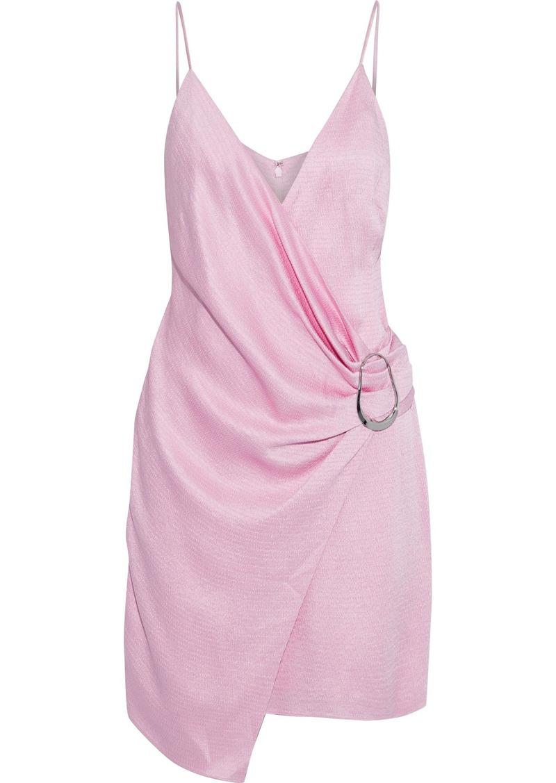 Cushnie Woman Slate Wrap-effect Pleated Textured-satin Mini Dress Baby Pink